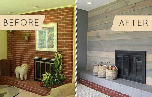 how to cover brick fireplace with wood | Roselawnlutheran